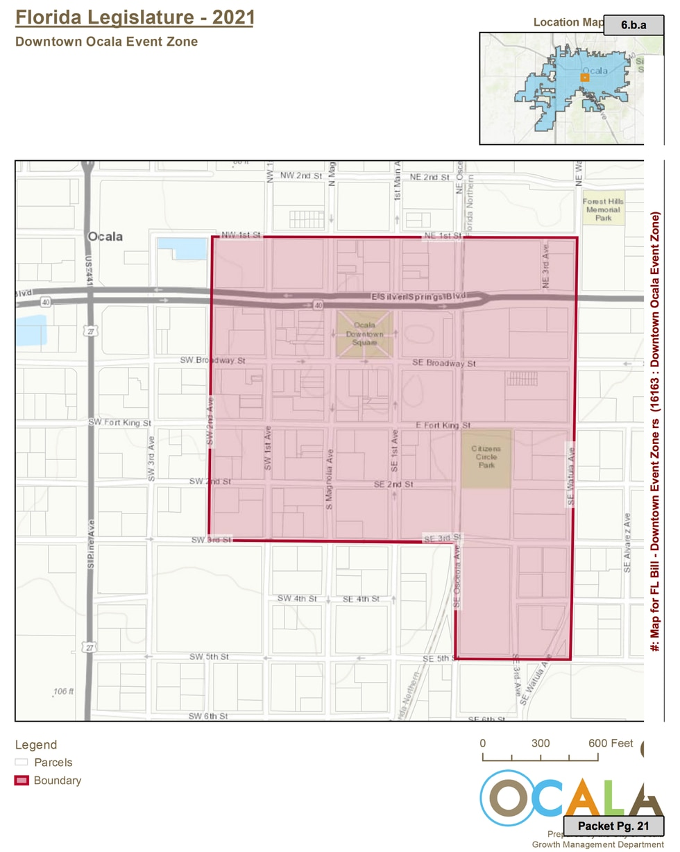 The 'Downtown Ocala Event Zone' would cover 34 blocks including the Downtown Square, Citizen's...