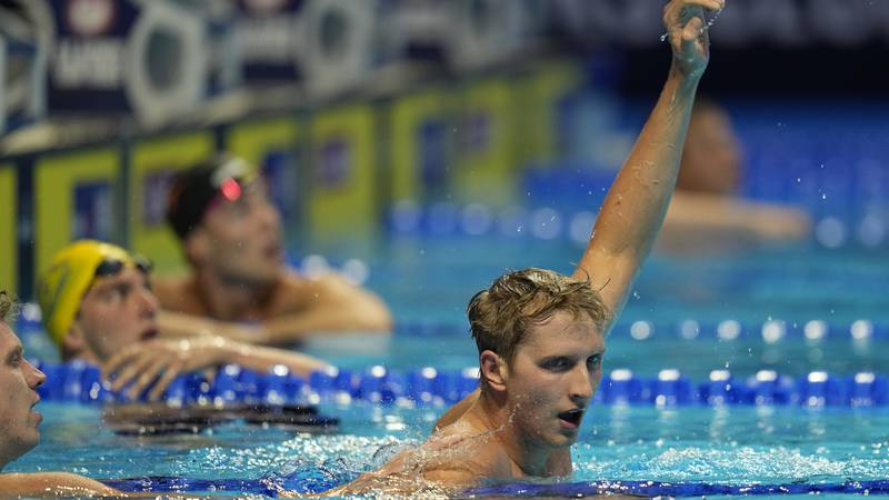 Kieran Smith reacts after winning the Men's 200 Freestyle during wave 2 of the U.S. Olympic...