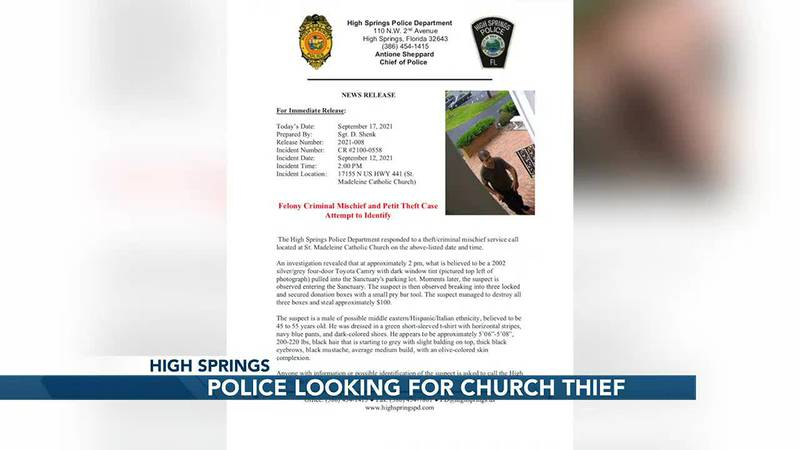 High Springs officers are looking for a man that robbed a church.