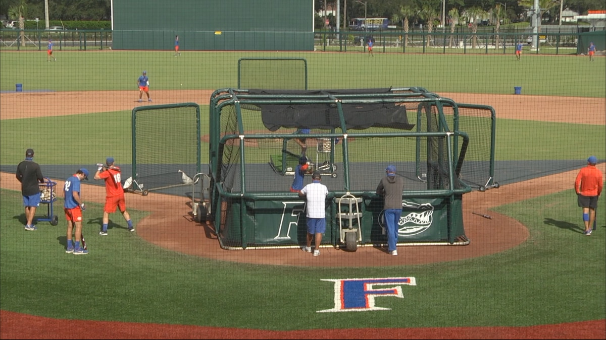 Florida baseball takes batting practice at the new Florida Ballpark
