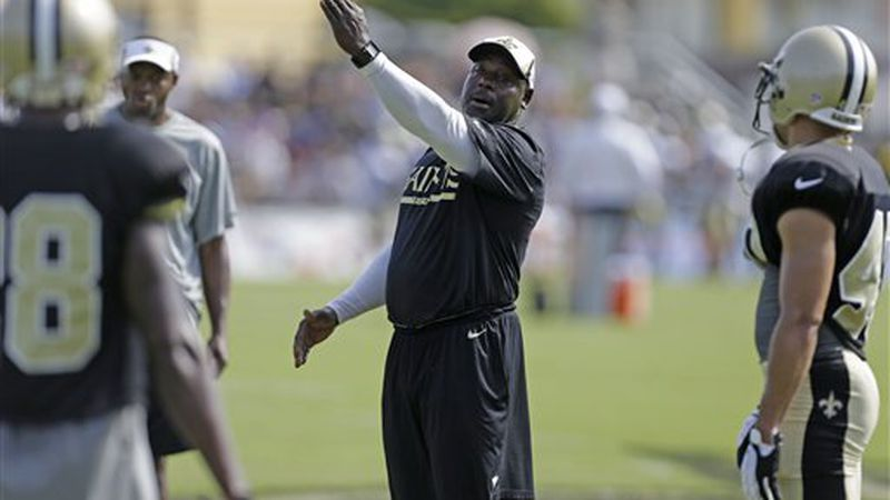 New Orleans Saints secondary coach Wesley McGriff during their NFL football training camp in...