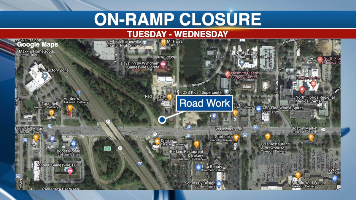 Drivers can expect to see the Newberry Road ramp to I-75 north close for construction Tuesday...