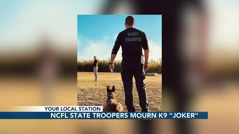 Florida Highway Patrol State Troopers mourn the loss of two K9s