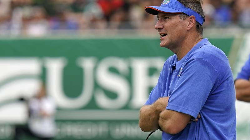 Florida head coach Dan Mullen watches against South Florida during the first half of an NCAA...