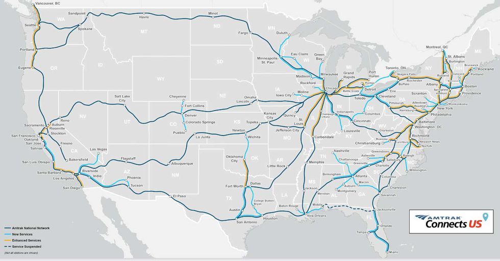 Amtrak said it has aspirations of boosting their passenger rail service so that it's available...