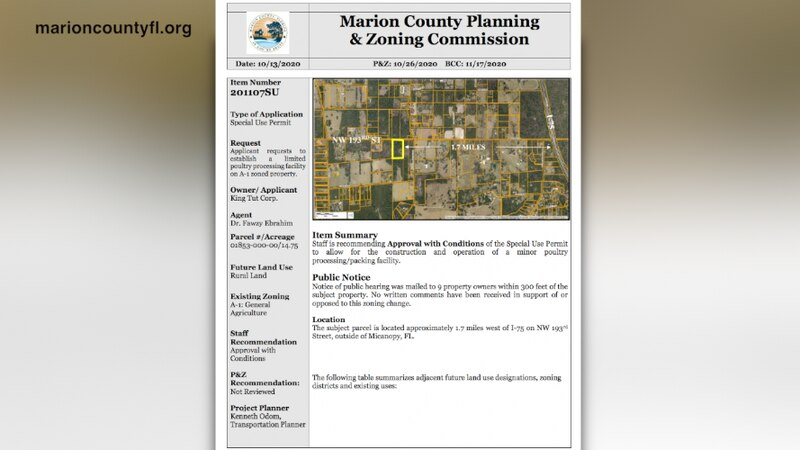 A special use permit application submitted to the Marion County Board of County Commissioners...
