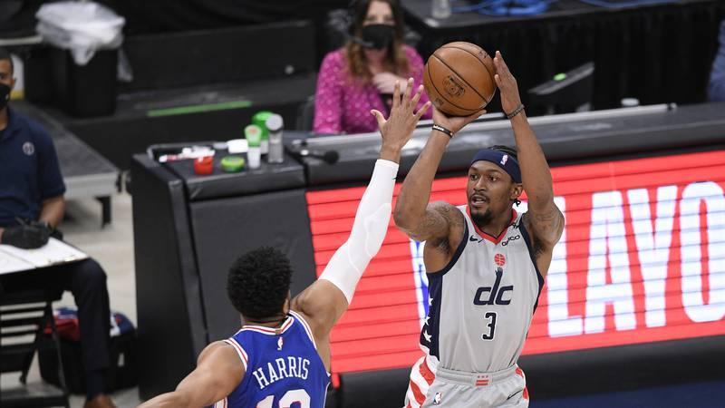 Washington Wizards guard Bradley Beal (3) shoots against Philadelphia 76ers forward Tobias...