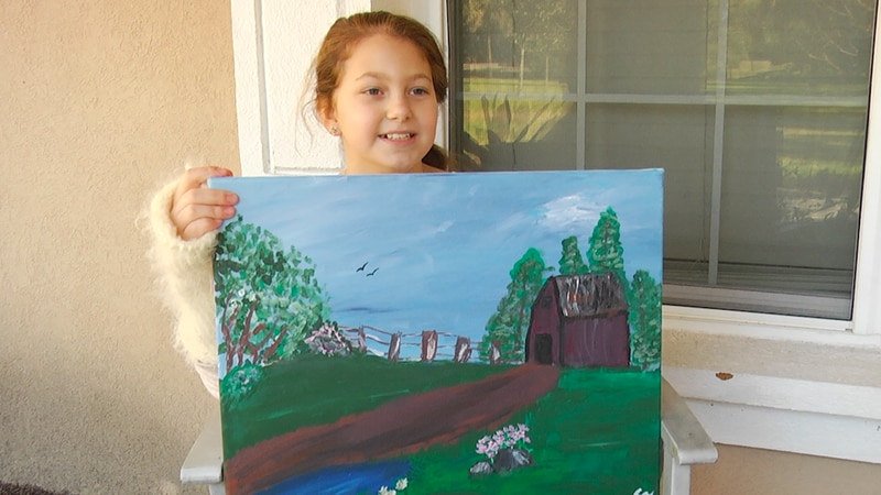 Young artist sells paintings to help hospitalized children