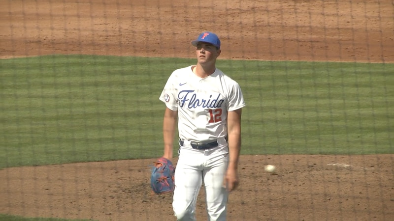 Hunter Barco walks off the mound after striking out a Samford hitter to end the inning in...