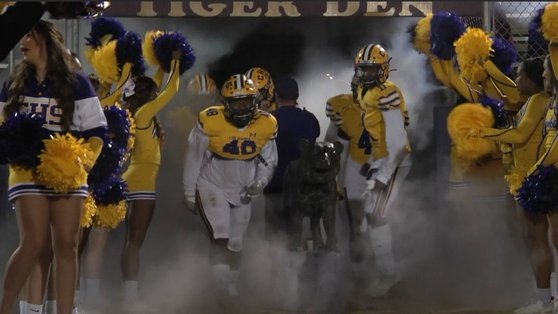 Columbia Tigers run out of the tunnel at the beginning of a game in 2020.