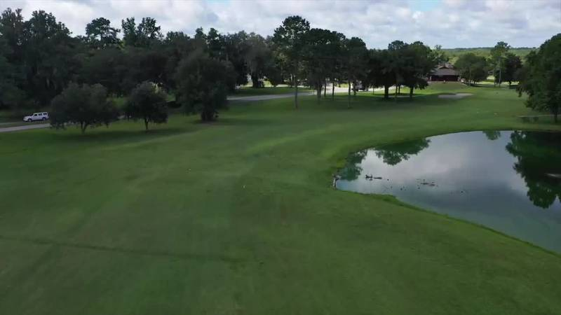 The signature par 4, 18th hole at Turkey Creek Golf Course challenges golfers of all skill...