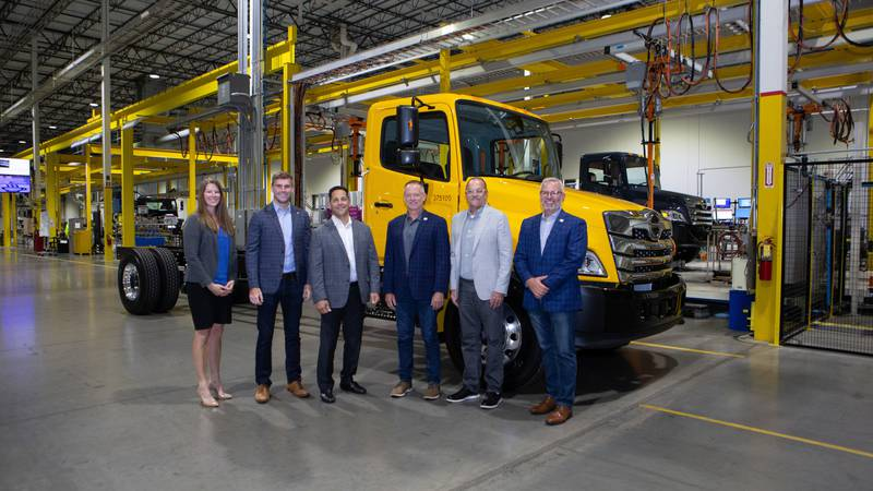 Representatives from Cummins, Penske Truck Leasing and Hino Trucks Commemorate the delivery of...
