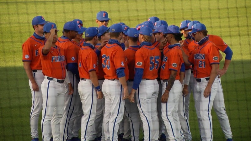 Florida Gators Baseball huddle up before their showdown with Stetson Friday evening.