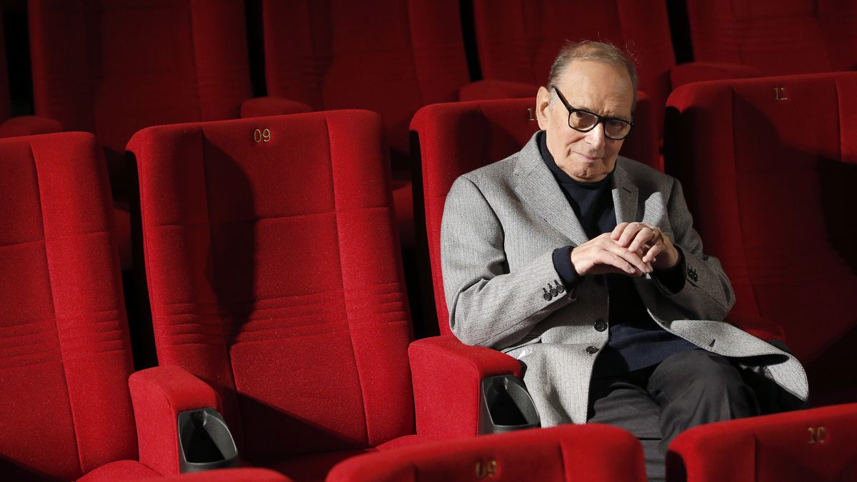 In this Dec. 6, 2013, file photo, Italian composer Ennio Morricone poses during a photo call to promote his German 2014 concerts, in Berlin, Germany.