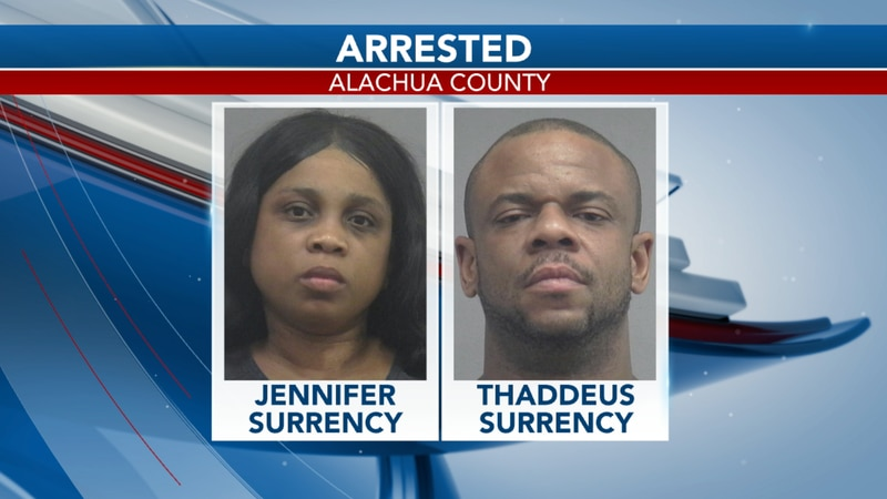 A wife is joining her husband at the Alachua County jail after she attempted to pay off...