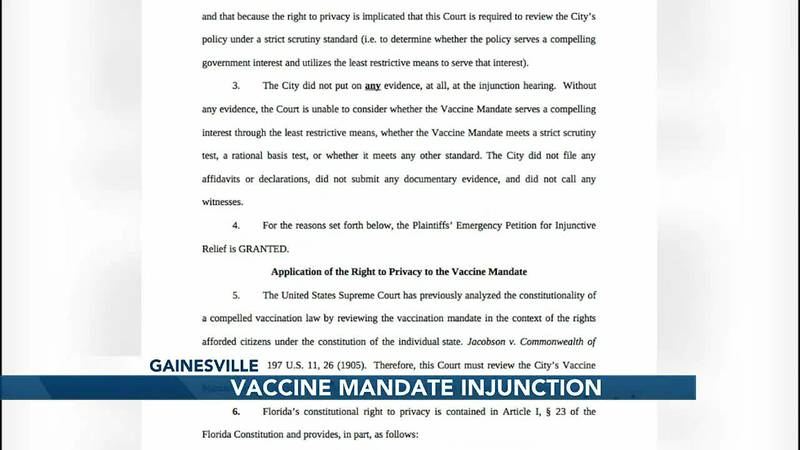 Temporary Injunction on Gainesville vaccine mandate