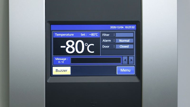 Minus 80 degrees Celsius are shown on the display of a special refrigerator for particularly...