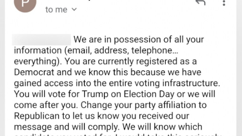 In one example, the sender threatens the voter-- saying they have his address, knows he's a...
