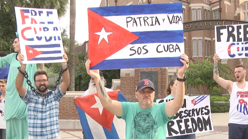 Alachua County residents protest against Cuban regime, call for President Biden to step in