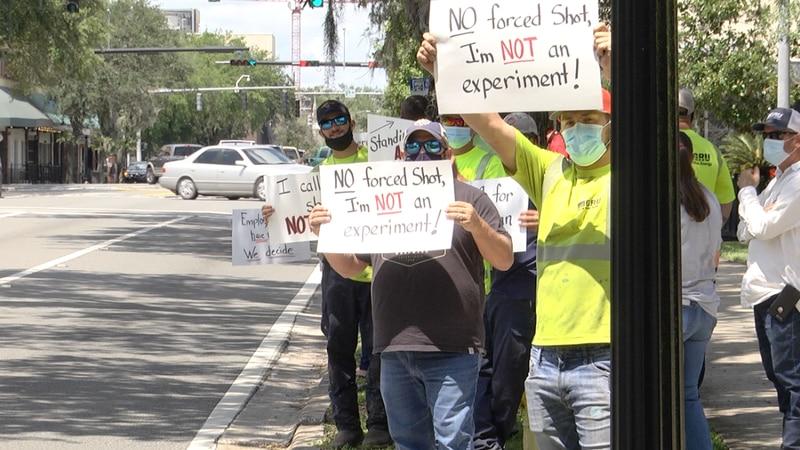 GRU workers protesting