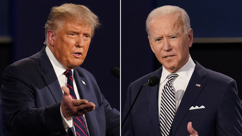 This combination of Sept. 29, 2020, file photos shows President Donald Trump and former Vice...