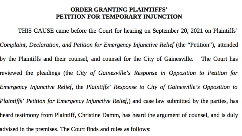 City of Gainesville temporary injunction on vaccine mandate