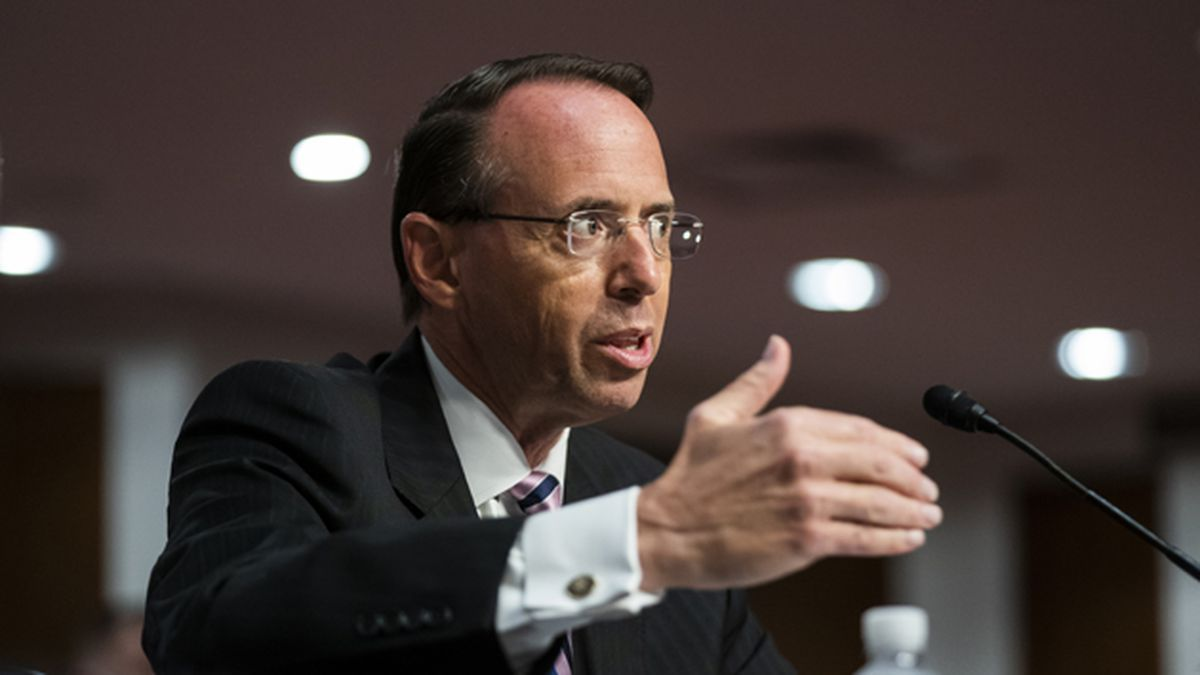 Former Deputy Attorney General Rod Rosenstein testifies before a Senate Judiciary Committee hearing on Capitol Hill in Washington, Wednesday, June 3, 2020. (Jim Lo Scalzo/Pool via AP)