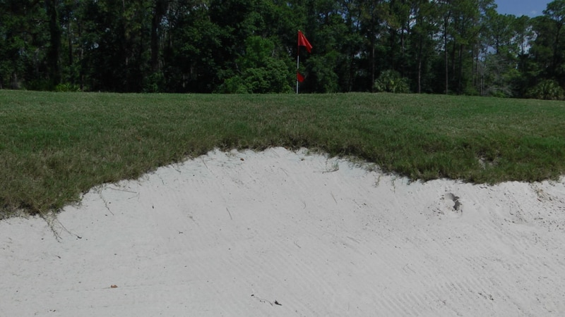 The green-side bunker on the third hole of Ironwood Golf Course.