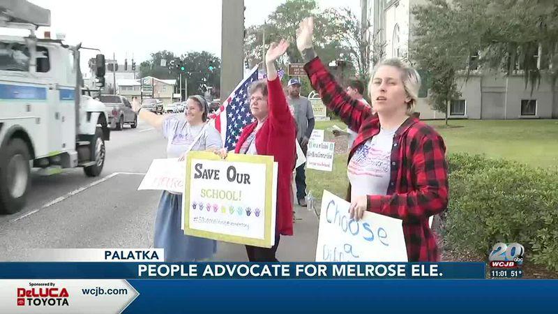Melrose parents protesting