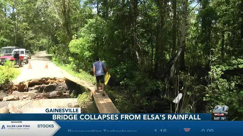 Bridge in Gainesville neighborhood collapses due to flooding from Tropical Storm Elsa