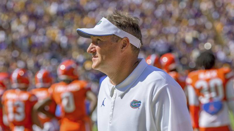Florida head coach Dan Mullen looks up during an NCAA college football game against LSU in...