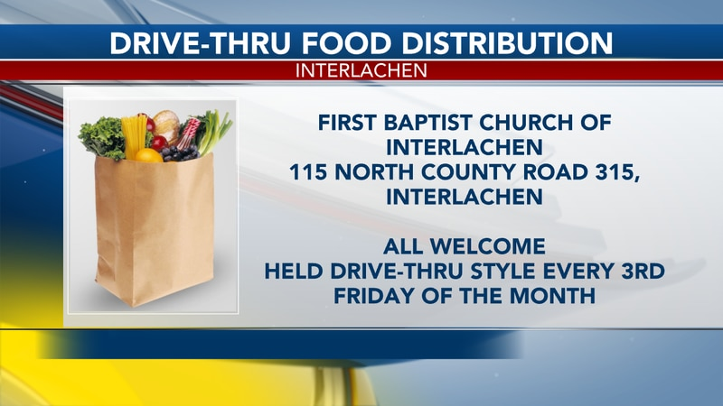 The First Baptist Church of Interlachen will host the drive-thru starting Friday at 9:00am and...