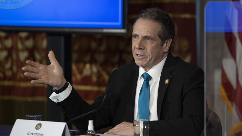 In this February 19, 2021 photo provided by the Office of Governor Andrew M. Cuomo, Gov. Cuomo...