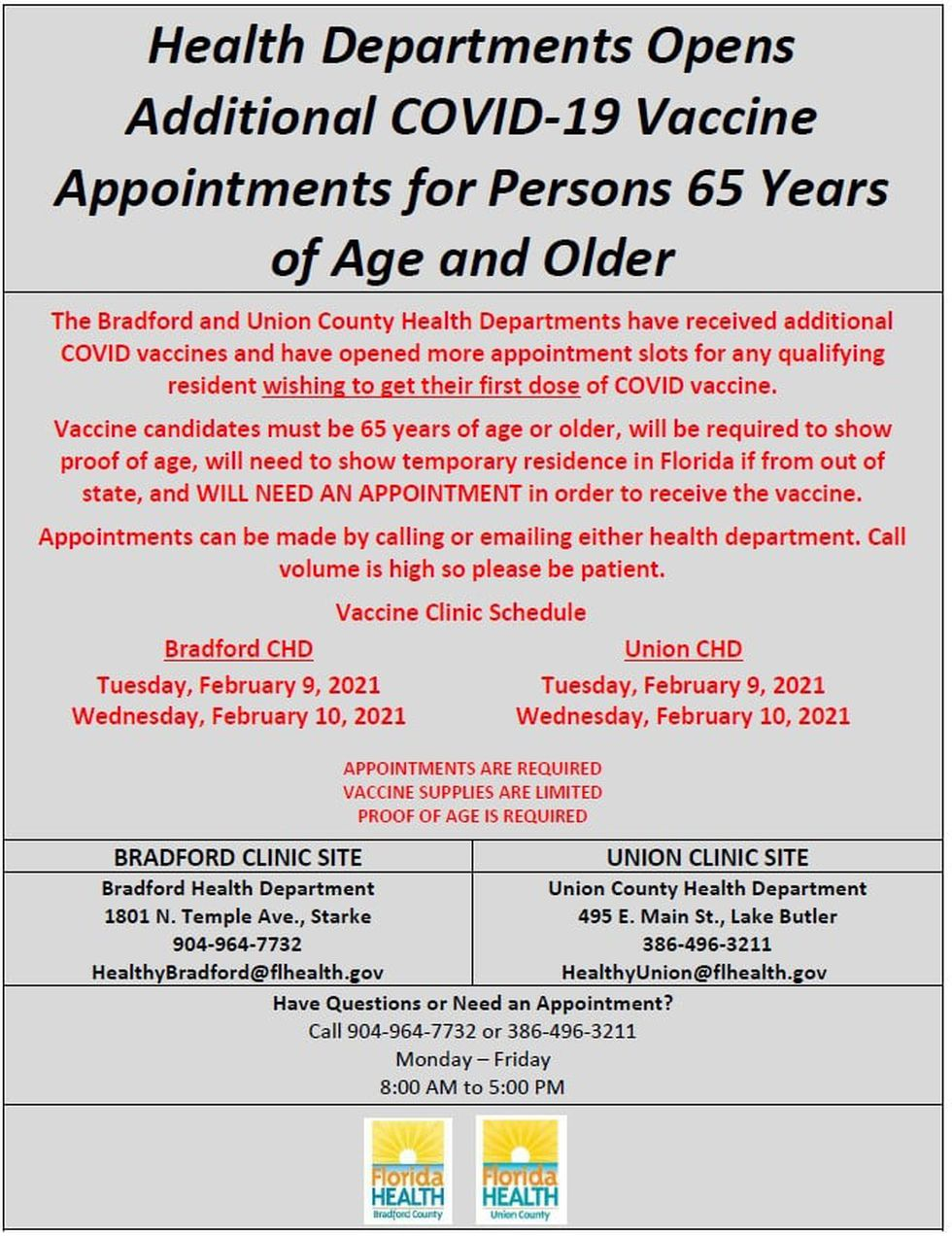 COVID-19 vaccination appointments are now available in both Bradford and Union counties.