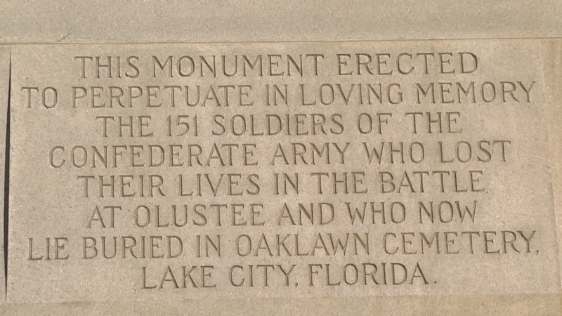 Lake City officials can't do anything yet about the confederate monument in Olustee Park...