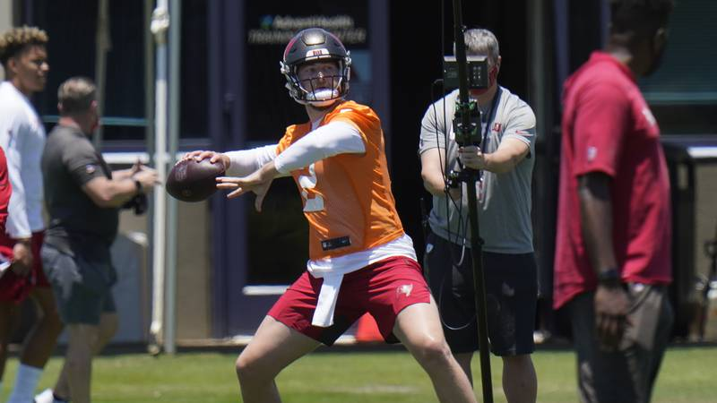 Tampa Bay Buccaneers quarterback Kyle Trask during a Buccaneers NFL football rookie mini camp...