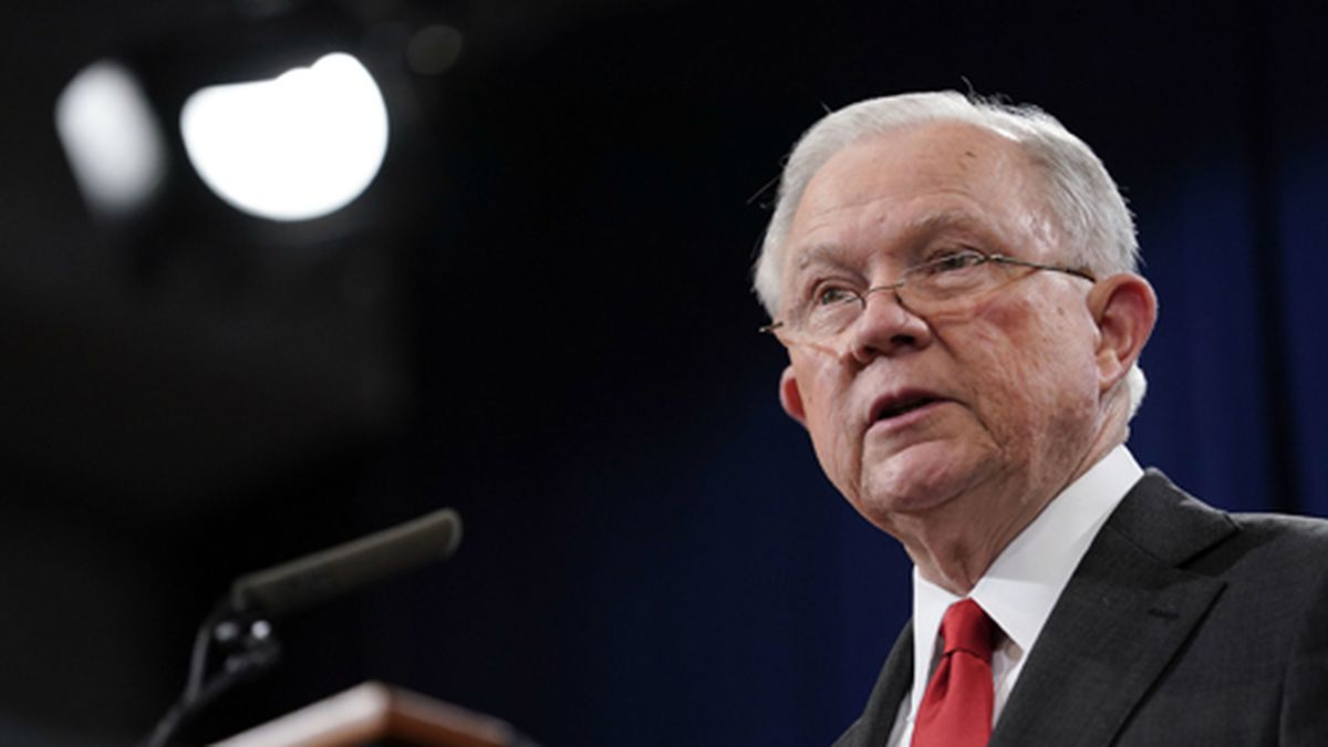 Attorney General Jeff Sessions speaks during a news conference to announce a criminal law enforcement action involving China, at the Department of Justice in Washington, Thursday, Nov. 1, 2018. (AP Photo/Pablo Martinez Monsivais)