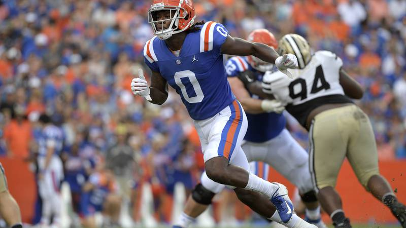 Florida wide receiver Ja'Quavion Fraziars (0) runs a route during the second half of an NCAA...
