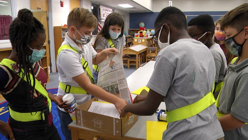 The fifth grade students at Reddick-Collier Elementary School have gathered together different...