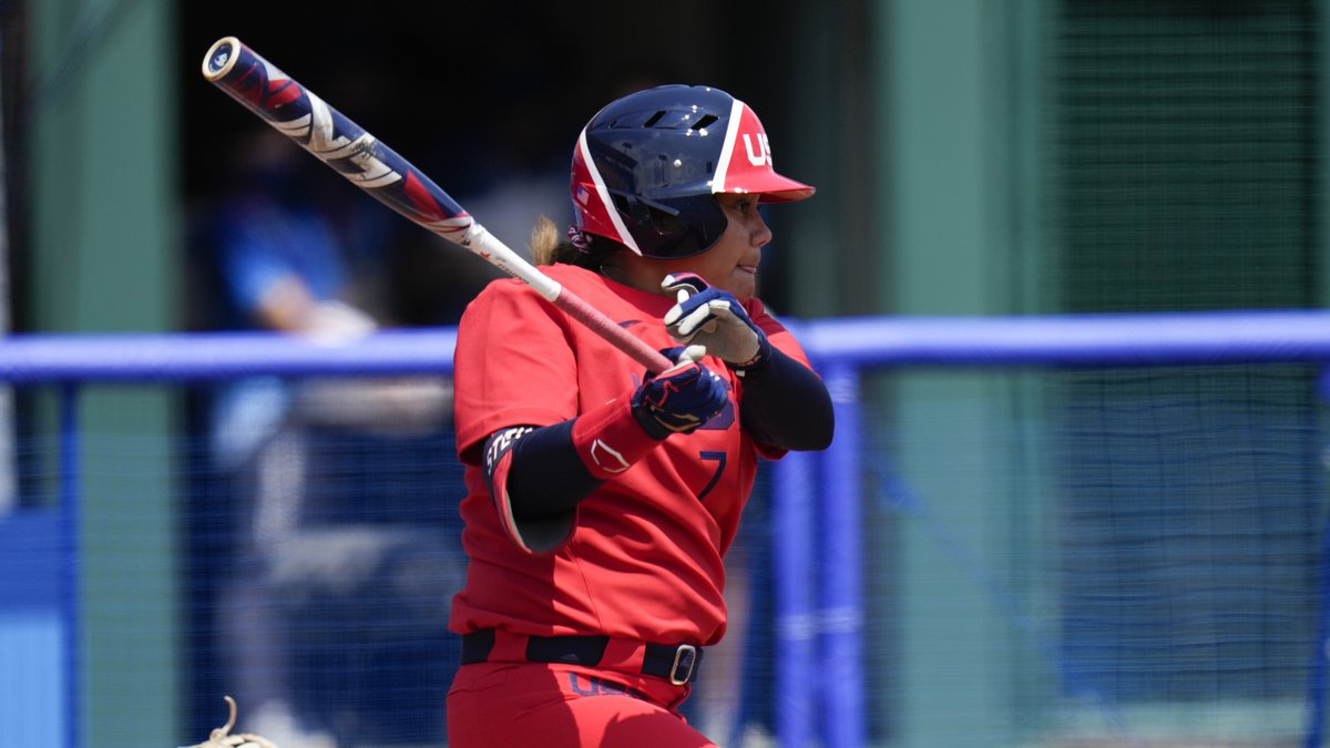 United States' Kelsey Stewart watches her hit during a softball game against Italy at the...
