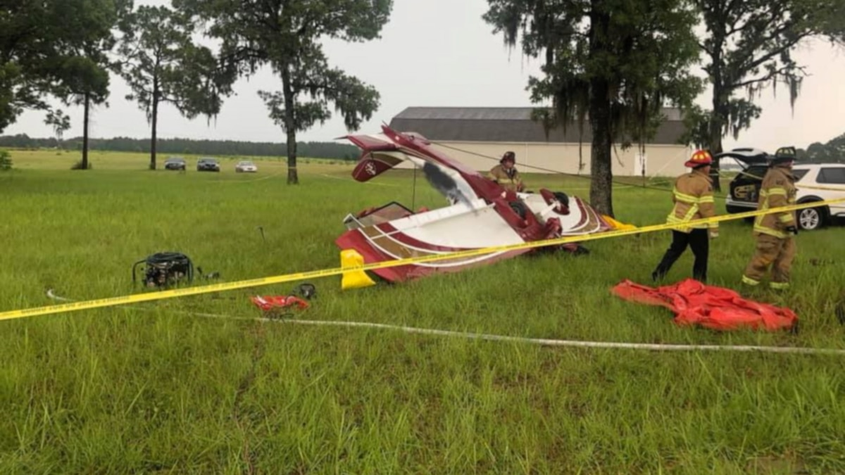 The small plane flown by a 78-year-old woman crashed in Ocala Wednesday.