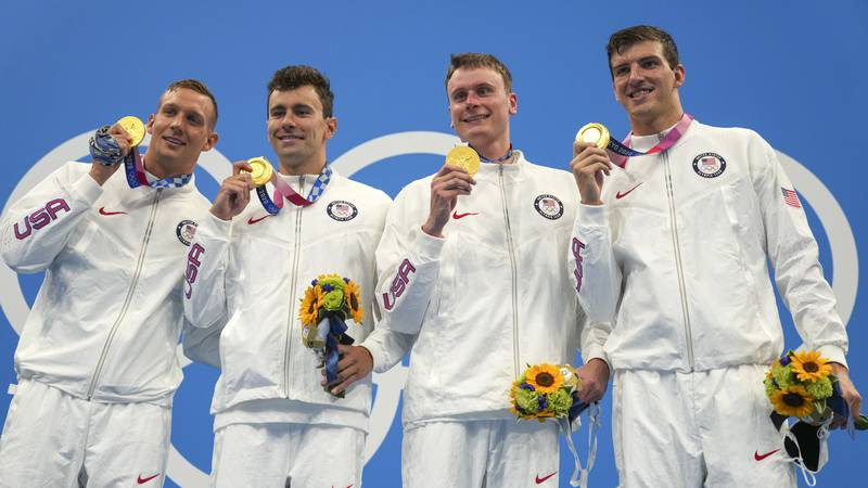 United States men's 4x100m freestyle relay team of Caeleb Dressel, Blake Pieroni, Bowen Beck...