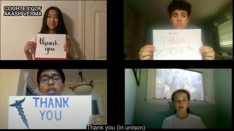 Eastside High School students say 'Thank You' to frontline workers