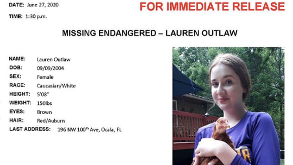 Lauren Outlaw, 15, is missing.