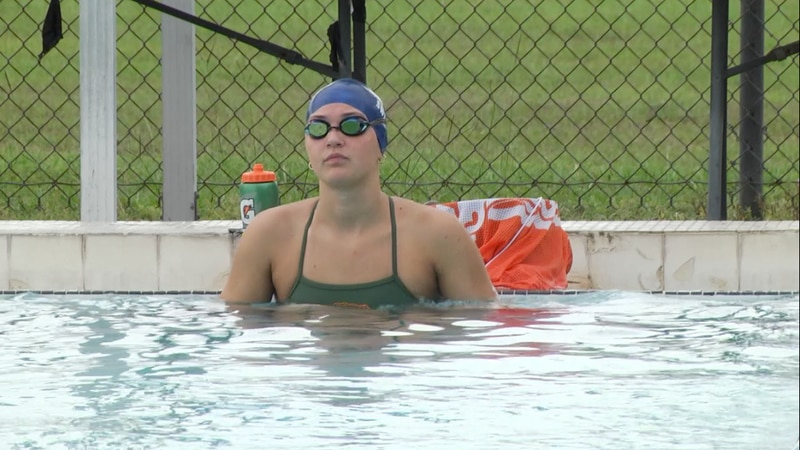 Florida swimmer Elise Bauer swims laps during practice at the Ocala Aquatic Center.