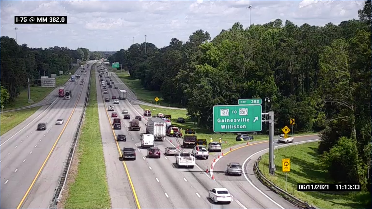 An elderly woman is dead after a morning crash on I-75 in Alachua County.