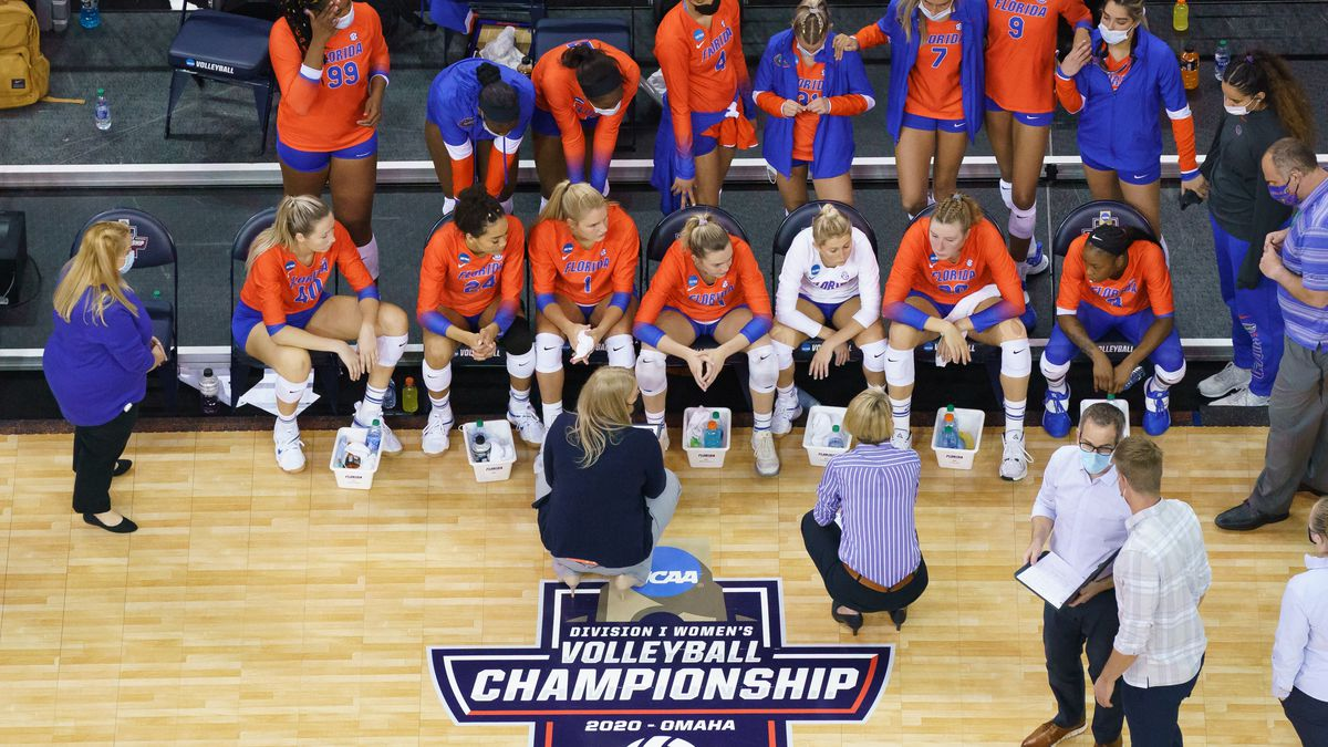 19 APR 2021: Florida vs. Wisconsin during the Division I Women's Volleyball Tournament held at...