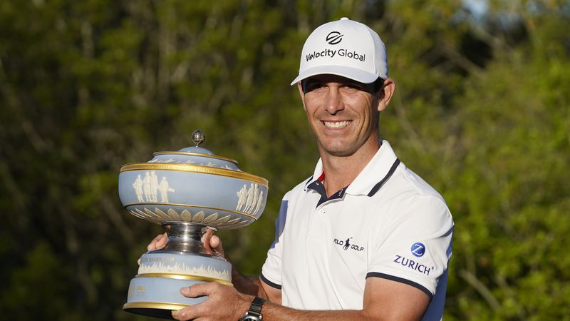 Billy Horschel holds his trophy after winning the Dell Technologies Match Play Championship...