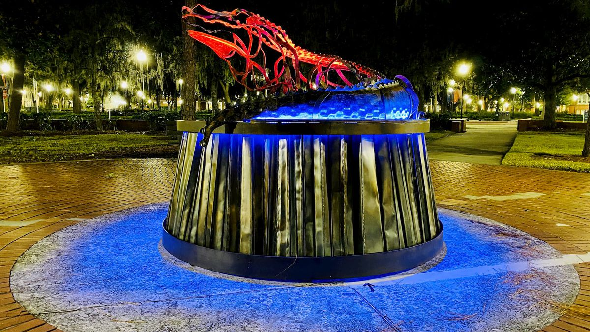 The large steel alligator sculpture is set to be reinstalled this week on the lawn of the...