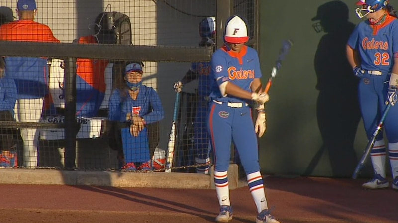 Hannah Adams prepares to step to the plate to leadoff the game for Florida in their series...
